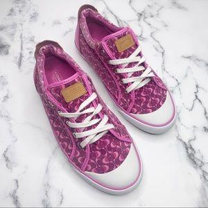 COACH Sneakers Barrett Pink Monogram Size 9.5